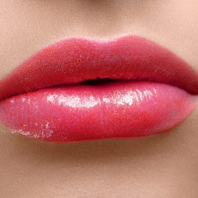 red lips close up